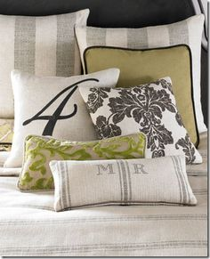 Nice bed pillow mix.  The monogramming is nicely done