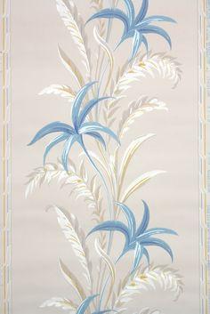 1940s floral botanical stripe vintage wallpaper