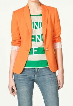 Orange Lapel Long Sleeve Striped Inside One Button Silm Blazer pictures