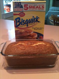 Easy banana bread - 5 ingredients: 2 ripe bananas, 1 cup sugar, 1/4 cup veg oil*, 2 eggs, 2 cups Bisquick.  Mix all but Bisquick. Once mixed add Bisquick. Pour into greased loaf pan (9 x 5). Bake at 350• for 45 min or until top springs back to touch.  *for lower fat, sub applesauce for oil. I've added a third banana, chopped nuts, and even white frosting. It's always good! ~MB