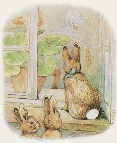 """"""" Madame MacGregor dénoua la ficelle qui fermait le sac et plongea la main à l'intérieur. Quand elle sentit sous ses doigts les vieux légumes, elle se mit en colère et prétendit que son mari l'avait fait exprès. """" ~ The Tale of The Flopsy Bunnies"""