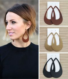 Cut-out leather earrings from ONE little MOMMA. Super light weight and so pretty… Cut-out leather earrings from ONE little MOMMA. Super light weight and so pretty! Diy Leather Earrings, Diy Earrings, Gold Earrings, Brown Earrings, Teardrop Earrings, Jewelry Crafts, Handmade Jewelry, Beaded Jewelry, Pearl Jewelry