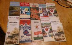Lot of 10 Vintage Gasoline Oil Gas Advertising Road Maps Texaco Chevron Sears+ A