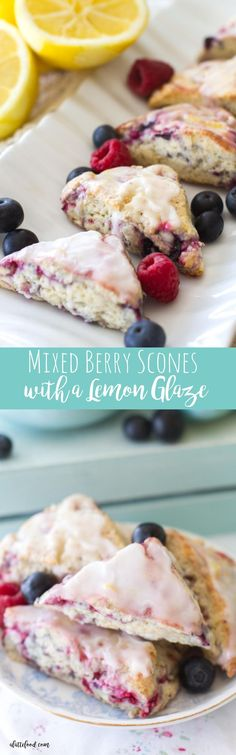 These mini mixed berry scones are full of blueberries and raspberries and drizzled with a sweet lemon glaze. These mixed berry cream scones make a simple and elegant breakfast, brunch, or dessert! And, ready for any of July party! Brunch Recipes, Cake Recipes, Breakfast Recipes, Dessert Recipes, Cocktail Recipes, Breakfast Ideas, Breakfast And Brunch, Breakfast Scones, Breakfast Catering