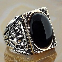 Mens Ring 925 Sterling Silver Black Onyx Unique Elegant artisan jewelry