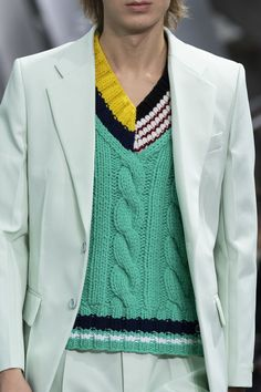 Lacoste at Paris Fashion Week Spring 2020 - Details Runway Photos - farbzusammenstellungen - Fashion Games, Fashion 2020, Paris Fashion, Runway Fashion, Fashion Weeks, Lacoste, Knit Vest Pattern, Knitwear Fashion, Men's Knitwear