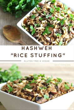 "Healthy Vegan and Gluten Free Hashweh ""Rice Stuffing"" Recipe perfect as a side dish or lunch for a Meatless Monday Meal or Thanksgiving Dinner . Made with portobello mushrooms, brown rice, pine nuts, cinnamon, cumin, Middle Eastern flavors."