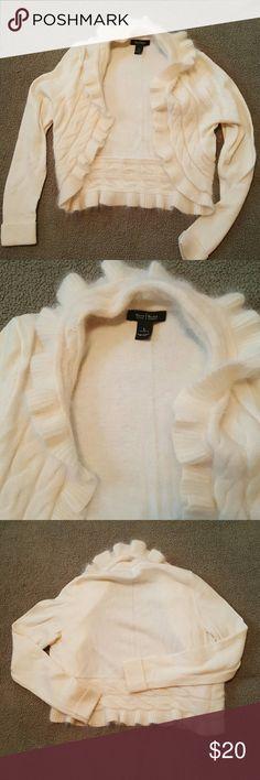 White house black market shrug Cream soft fluffy short shrug size large great for holidays White House Black Market Sweaters Shrugs & Ponchos