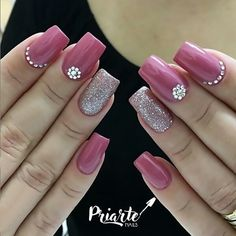 Cute Acrylic Nails, Cute Nails, Pretty Nails, Cute Nail Art, Soft Nails, Pink Nails, Gel Nails, Pink Nail Designs, Beautiful Nail Designs