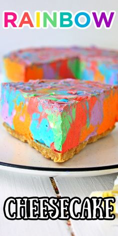 Rainbow Cheesecake. No Bake Cheesecake. No-bake rainbow cheesecake. Tie Dye Cheesecake. Bright Colorful Swirled Cheesecake. Unicorn Cheesecake. Rainbow Cheesecake, No Bake Cheesecake, Outdoor Projects, Diy Projects, Love Rainbow, Best Appetizers, Diy Home Improvement, Dip Recipes, Party Snacks