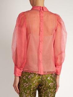 Gucci Embellished poppy-rosette silk-organza blouse