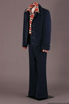 Leisure Suit: about 1970-1978; alternative to business suits developed for casual wear; top and pants usually made from same fabric; out of style by the end of the decade