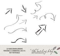 The Darling Blog: Set of 10 Hand Drawn Arrows Photoshop Brushes & PNGs