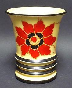 Vintage Hand Painted Slip Decoration Art Pottery Czech Vase Ditmar Urbach