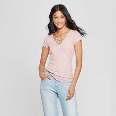 06c68dcbf23 Women s Short Sleeve Lace-Up Neckline Marled Slub T-Shirt - Almost Famous ( Juniors ) Mauve XL