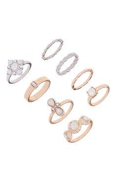 Primark - Conjunto de anéis dourado e prateado