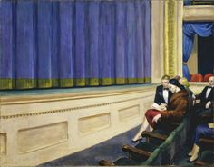 Edward Hopper First Row Orchestra art painting for sale; Shop your favorite Edward Hopper First Row Orchestra painting on canvas or frame at discount price. American Realism, American Life, American Artists, Robert Rauschenberg, Paul Klee, David Hockney, Edouard Hopper, Edward Hopper Paintings, John Piper
