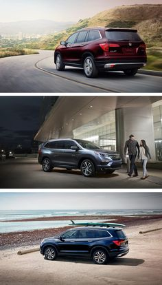 The 2016 Honda Pilot is ready to go, go, go! With three rows of seating, you can take your family, friends and your friends' friends out on the town. You've got places to go and pinned activities to do.  Honda reminds you to secure cargo items. Crossbars and surfboard attachment accessories shown.