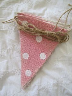 Cotton Candy Painted Burlap Banner with Glitter poka dots. $28.00, via Etsy.