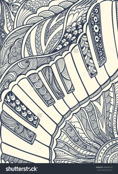 Zen-doodle Piano keyboard with Zen-tangle ornament style black on white for coloring page or relax coloring book or wallpaper or for decorate package clothes or for creative Post Card