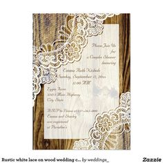 Rustic white lace on wood wedding couples shower