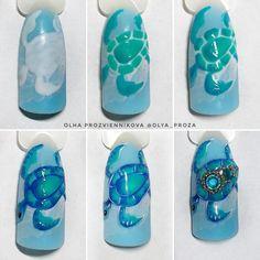 Turtle Nail Art, Turtle Nails, Ocean Nail Art, Beach Nail Art, Pedicure Designs, Diy Nail Designs, Sea Nails, Nail Room, Seasonal Nails
