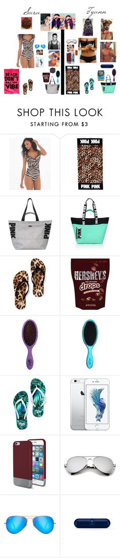 """Double Beach Date with Sara"" by tyviereck ❤ liked on Polyvore featuring Miraclesuit, Victoria's Secret, Hershey's, Hard Candy, Dolan, Original Penguin, Ray-Ban, Beats by Dr. Dre and Sony"