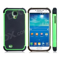 Color: Black + Green; Brand: N/A; Model: N/A; Material: Plastic + TPU; Quantity: 1 Set; Compatible Models: Samsung Galaxy S4 i9500; Other Features: Precisely fits the contours of the Samsung Galaxy S4 i9500; Protects your device from scratches, dust and bumps Unique sports ball feel Direct external access to all buttons, controls and ports Adds a bright touch to your device; Packing List: 1 x Protective case; http://j.mp/Yr7Whb
