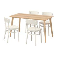 LISABO / IDOLF Pöytä + 4 tuolia, saarniviilu, valkoinen