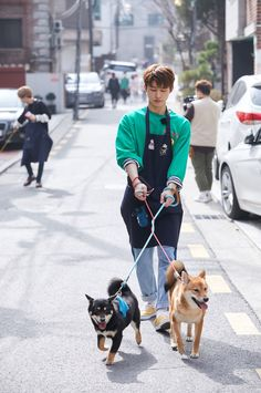 b.i 김한빈 -> meanwhile Jinhwan's being dragged away, off shot, by his dogs