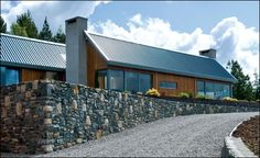 all the stone used in the landscaping and stone-masonry came from the site