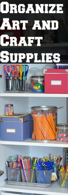 Arts And Craft Organization - The Organized Homeschool Challenge Art and Craft Supplies. Arts And Crafts For Adults, Arts And Crafts House, Easy Arts And Crafts, Arts And Crafts Projects, Arts And Crafts Supplies, Fun Crafts, Craft Room Storage, Craft Organization, Organizing Crafts