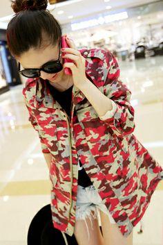 2014 весной новой корейской моды шнурок талии карман камуфляж с длинными рукавами сюртук и длинное пальто женщина - Taobao