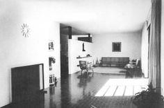 Vista de la estancia, Casa Ignacio Díaz Morales Efraín - González Luna, No.2062, Col. Americana, Guadalajara, Jalisco 1956   Arq. Ignacio Díaz Morales -  View of the living room of Casa Ignacio Morales, Guadalajara, Jalisco, Mexico 1956