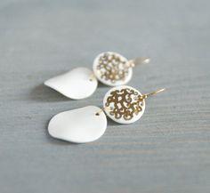 White porcelain earrings - dangle earrings, disc earrings, modern porcelain jewelry on gold vermeil hooks, wedding jewelry, bridal earrings