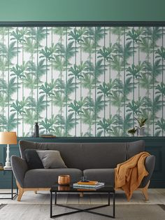 Think botanical rainforests, lush foliage and opulent greens, and you have the Jungle Luscious Green wallpaper. Adorned with layers of tropical green trees, creating a striped effect, in an array of lavish greens on a luxurious matt paper. Botanical Wallpaper, Green Wallpaper, Latest Wallpapers, Graham Brown, Green Trees, Floral Motif, All The Colors, Home Furnishings, Home And Family