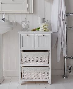 Connecticut freestanding white bathroom cabinet with baskets and drawers. Bathroom storage from The White Lighthouse - www.thewhitelighthousefurniture.co.uk