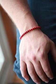 Mens Red Coral Bracelet