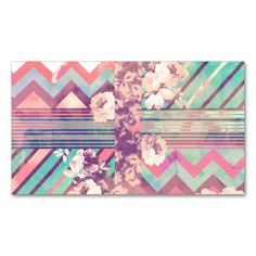 Retro Pink Turquoise Floral Stripe Chevron Pattern Double-Sided Standard Business Cards (Pack Of 100). This great business card design is available for customization. All text style, colors, sizes can be modified to fit your needs. Just click the image to learn more!