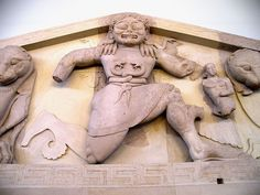 An archaic Gorgon (around 580 BC), as depicted on a pediment from the temple of Artemis in Corfu, on display at the Archaeological Museum of Corfu