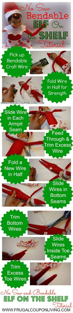 No Sew Bendable Elf on the Shelf Tutorial – Easy DIY Craft, make your shelf bendable so you can display them in many different poses. This and hundreds of Elf on the Shelf IDeas on Frugal Coupon Living. #elfontheshelf #elfontheshelfideas #DIY