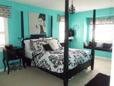 elegant teal and black bedrooms | Furniture, Elegant Girls Bedroom Decorating Ideas With Black Bed Frame ...