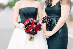 Dark Wedding Bouquets    Photography: Joseph Lin Photography   Read More:  http://www.insideweddings.com/weddings/bride-wears-black-and-white-wedding-dress-to-new-york-city-nuptials/658/