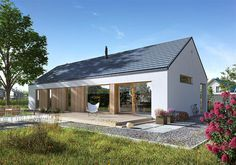 Economics storey house design of the area. with a pitched roof, with a terrace, check! Modern Barn House, Timber House, House Cladding, Minimal Home, Shed Homes, Architect House, House Roof, Exterior Design, Future House