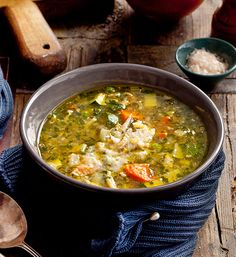 Italian chicken and vegetable soup. Based on a traditional broth called 'brodo', this soup will keep in the fridge for up to one week, and the flavour will intensify over the days.