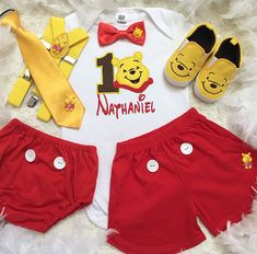 Winnie the Pooh inspired Birthday outfit Set price include top(number, name,design) bottom,suspenders,Bow tie and party hat. Other pieces not included in this set price.To complete your outfit Please add to other matching items , add on listings are shown as below⬇️ Too add