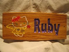 "130x300x12mm 5 1/4x12x1/2"" Oak Wood Kids Room Sign / Plaque  with Motif. Customised with your font and text. By Signaroo"