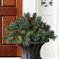 A beautiful solution to the annual empty-holiday-planter decorating dilemma. Our Classic Prelit Planter Insert has lush pine branches with real pinecone accents and 35 soft white LED bulbs that run an outdoor-safe battery pack. Best Outdoor Christmas Decorations, Christmas Urns, Christmas Holidays, Christmas Wreaths, Christmas Ideas, Christmas 2019, Outdoor Christmas Planters, Winter Decorations, Christmas Bedroom