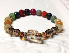 Swarovski Crystal Skull Stretch Bracelet Multi by LoveandLulu