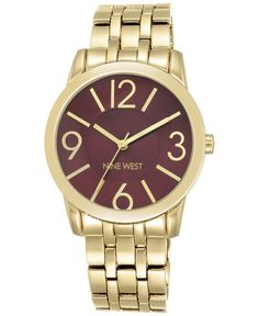 Nine West Women's Gold-Tone Stainless Steel Bracelet Watch 39mm Nw/1578BYGB